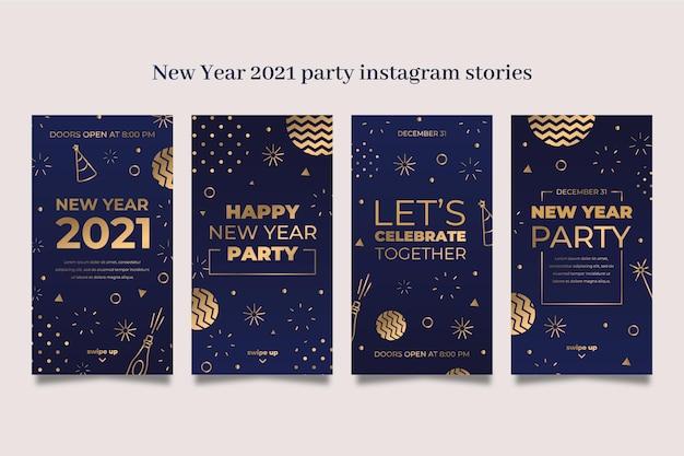 Colección de historias de instagram de fiesta de año nuevo 2021