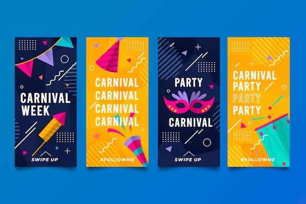 Colección de historias de instagram de fiesta de carnaval