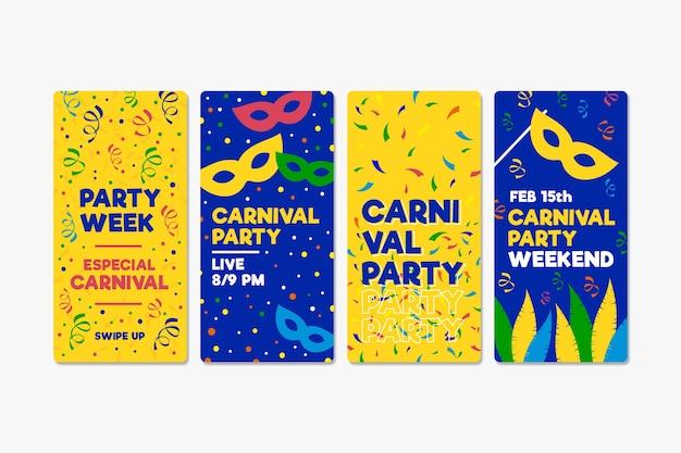 Colección de historias de instagram con fiesta de carnaval
