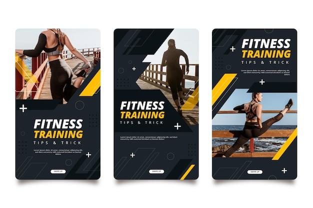 Colección de historias de instagram de fitness plano