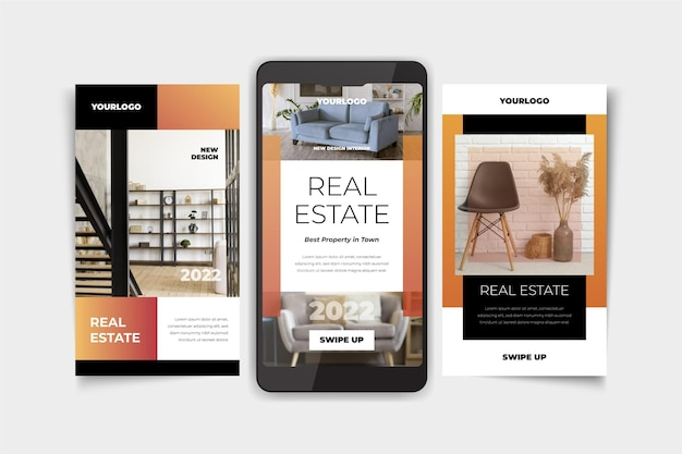 Colección de historias de instagram de gradiente de bienes raíces