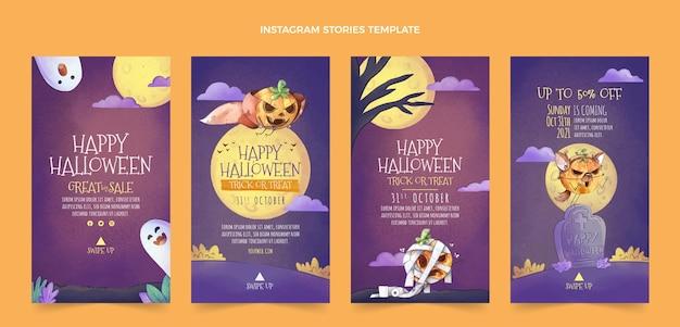 Colección de historias de instagram de halloween en acuarela