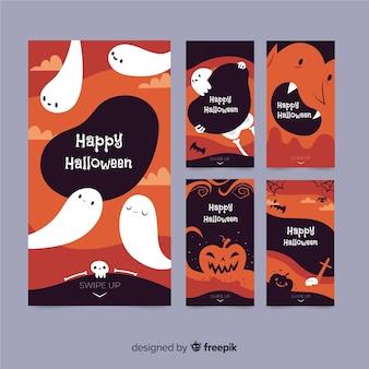 Colección de historias de instagram de halloween con fantasmas
