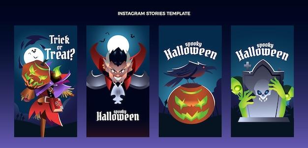 Colección de historias de instagram de halloween gradiente