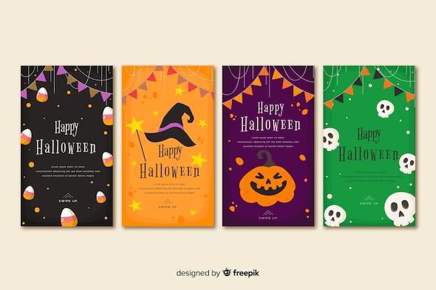Colección de historias de instagram de halloween con guirnalda festiva