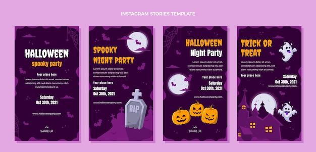 Colección de historias de instagram de halloween planas dibujadas a mano