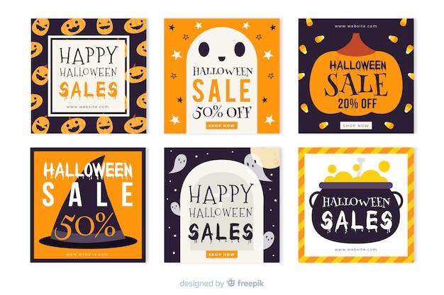 Colección de historias de instagram de halloween para ventas