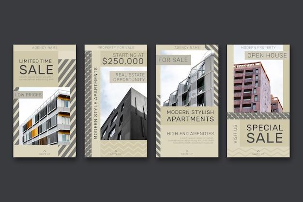 Colección de historias de instagram de inmobiliarias planas