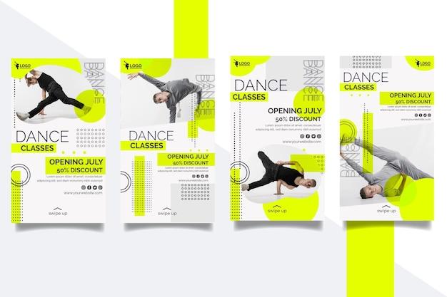 Colección de historias de instagram para lecciones de baile con un artista masculino