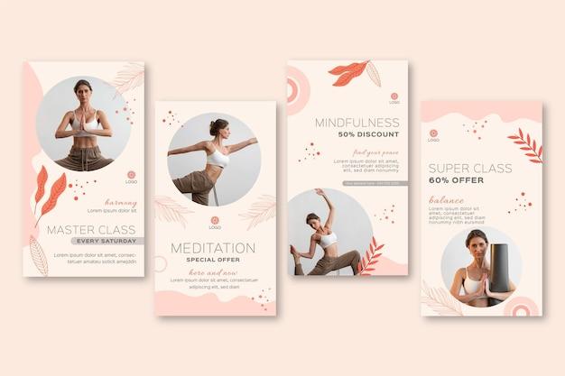 Colección de historias de instagram de meditación y atención plena
