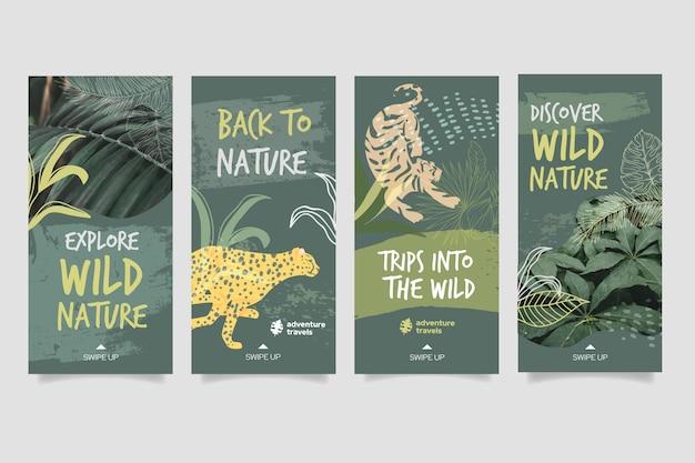 Colección de historias de instagram de naturaleza salvaje con vegetación y animales
