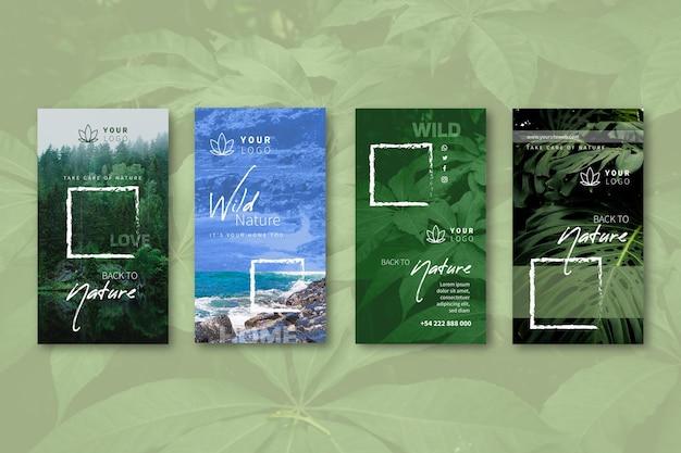 Colección de historias de instagram de naturaleza salvaje