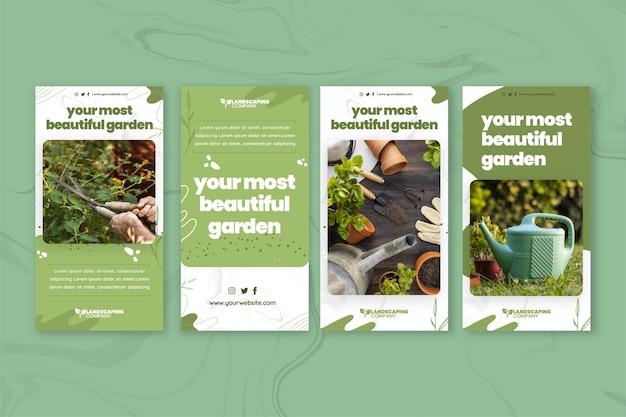Colección de historias de instagram de negocios de jardinería