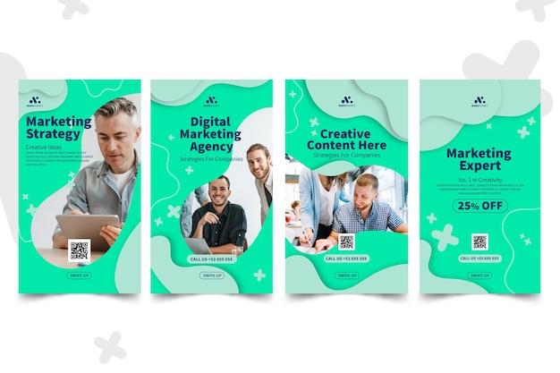 Colección de historias de instagram de negocios de marketing
