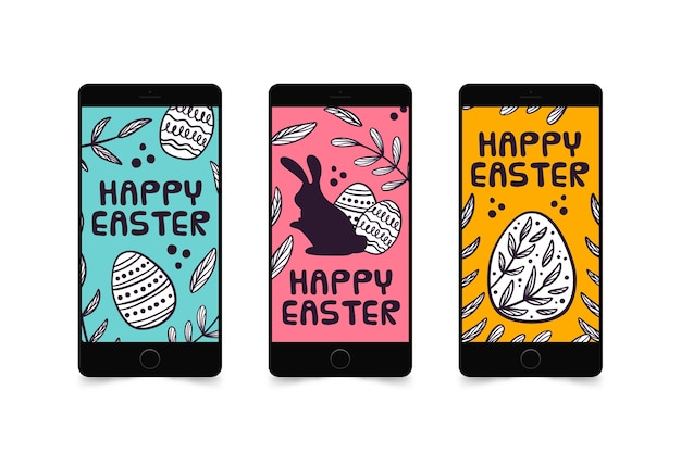 Colección de historias de instagram de pascua en teléfonos inteligentes
