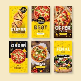 Colección de historias de instagram para pizzería