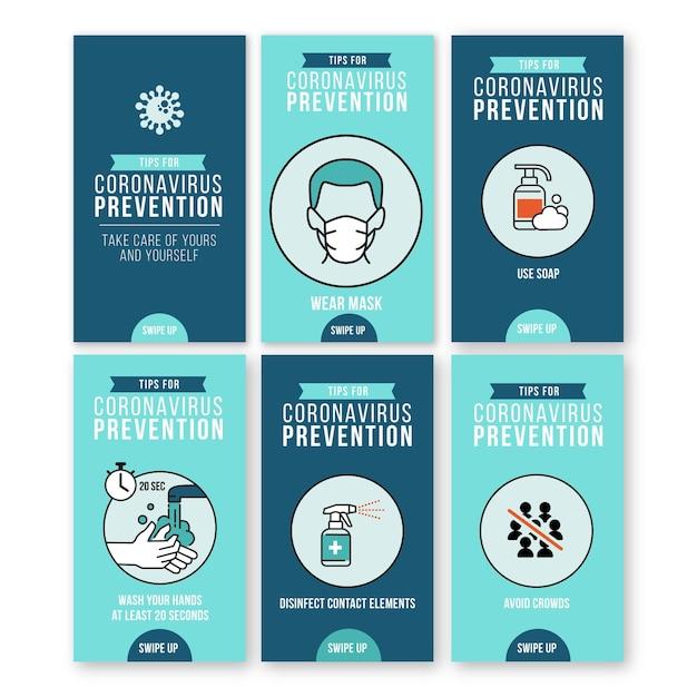 Colección de historias de instagram para la prevención del coronavirus