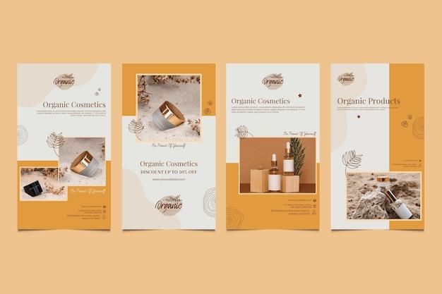 Colección de historias de instagram de productos cosméticos.