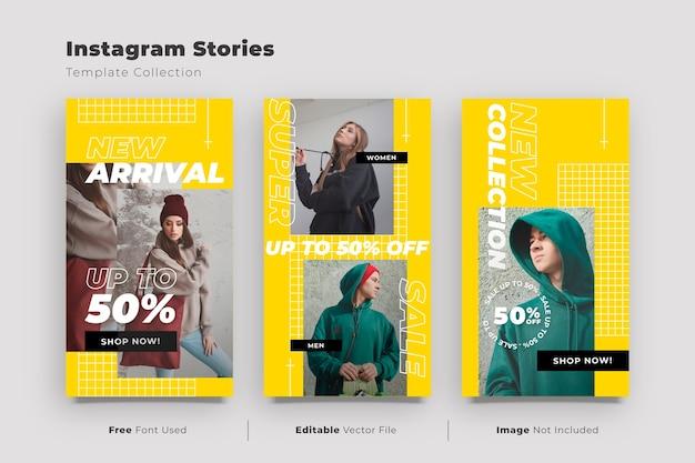 Colección de historias de instagram con promoción de rebajas de streetwear
