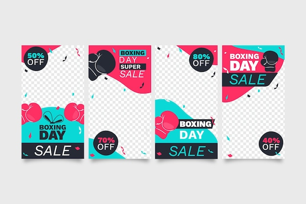 Colección de historias de instagram de rebajas de boxing day