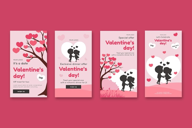 Colección de historias de instagram de rebajas del día de san valentín