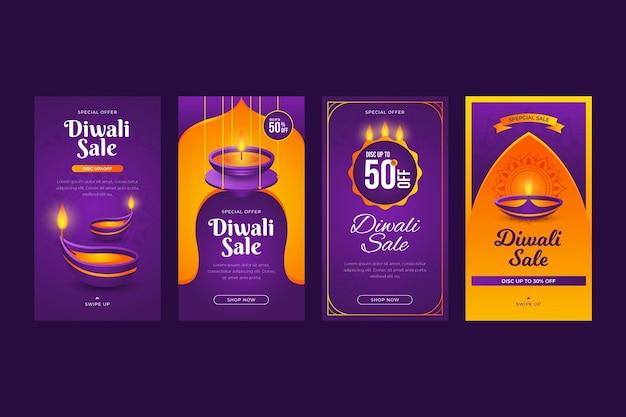 Colección de historias de instagram de rebajas de diwali