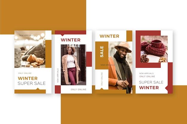 Colección de historias de instagram de rebajas de invierno
