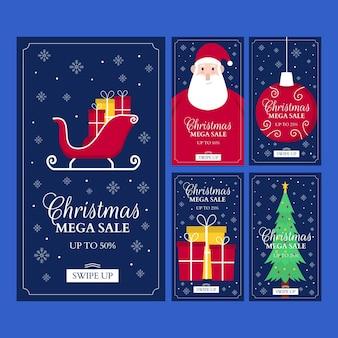 Colección de historias de instagram de rebajas de navidad