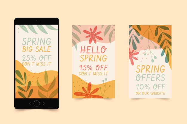Colección de historias de instagram de rebajas de primavera dibujadas a mano