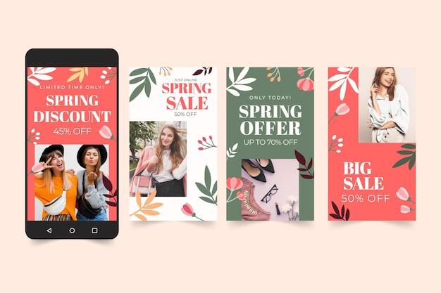 Colección de historias de instagram de rebajas de primavera plana