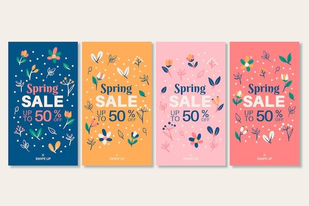 Colección de historias de instagram de rebajas de primavera