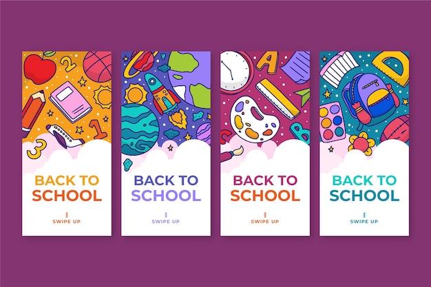 Colección de historias de instagram de regreso a la escuela dibujadas a mano