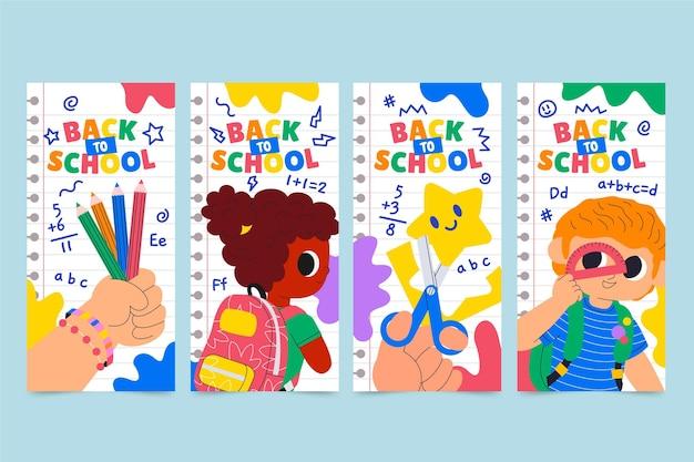 Colección de historias de instagram de regreso a la escuela de dibujos animados