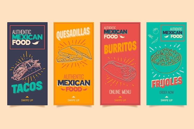 Colección de historias de instagram para restaurante de comida mexicana