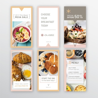 Colección de historias de instagram de restaurante de desayuno