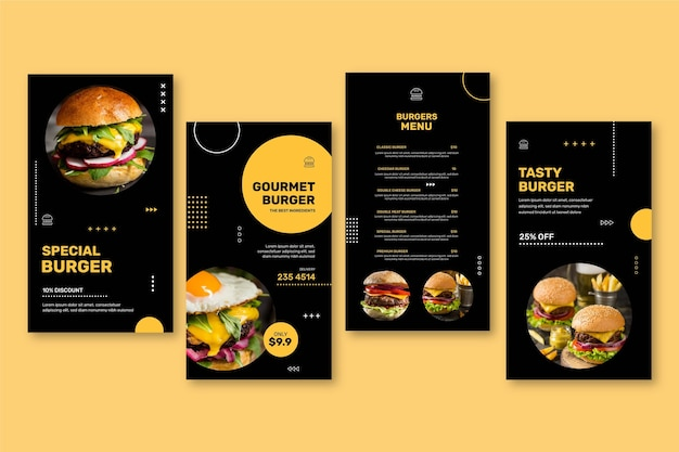 Colección de historias de instagram de restaurante de hamburguesas
