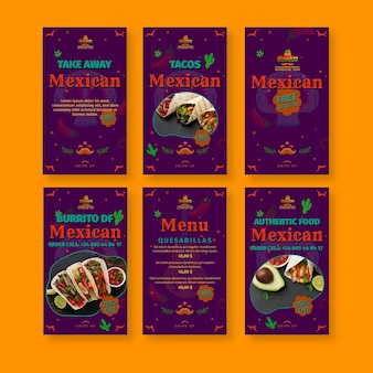 Colección de historias de instagram de restaurantes de comida mexicana