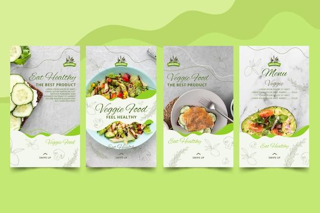 Colección de historias de instagram de restaurantes de comida saludable