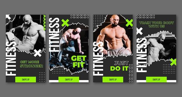 Colección de historias de instagram de salud y fitness planas con foto