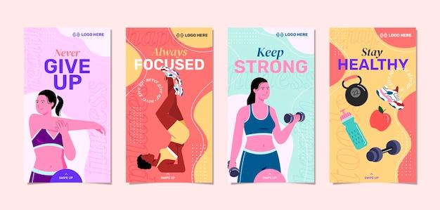 Colección de historias de instagram de salud y fitness