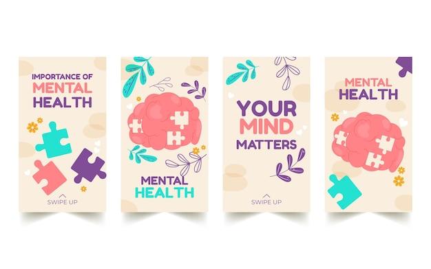 Colección de historias de instagram de salud mental dibujadas a mano