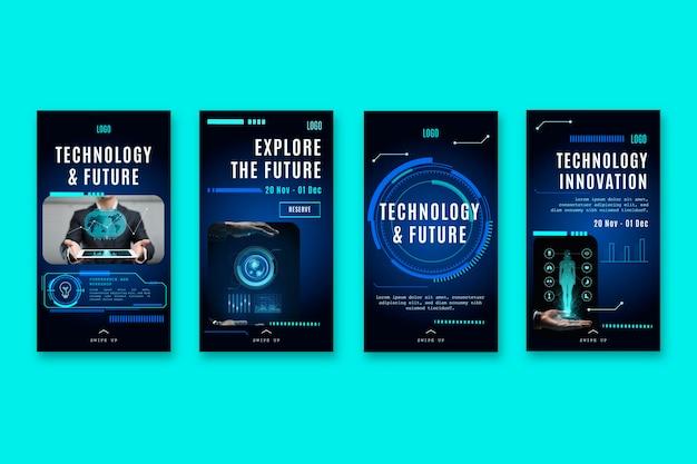Colección de historias de instagram con tecnología futurista