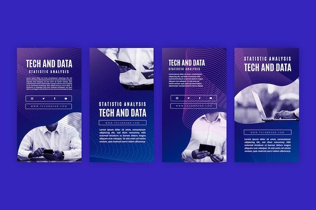 Colección de historias de instagram y tecnología del futuro