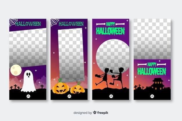 Colección de historias de instagram transparentes de halloween
