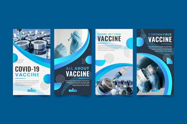 Colección de historias de instagram de vacuna plana