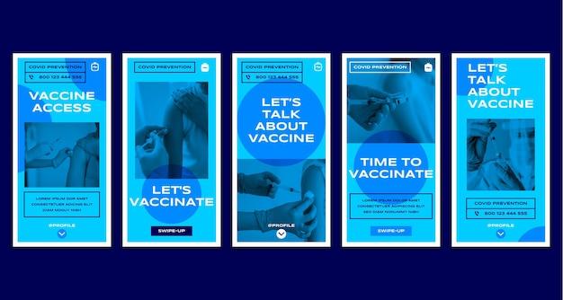 Colección de historias de instagram de vacunas planas con fotos