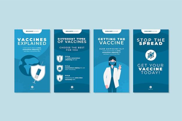 Colección de historias de instagram de vacunas planas