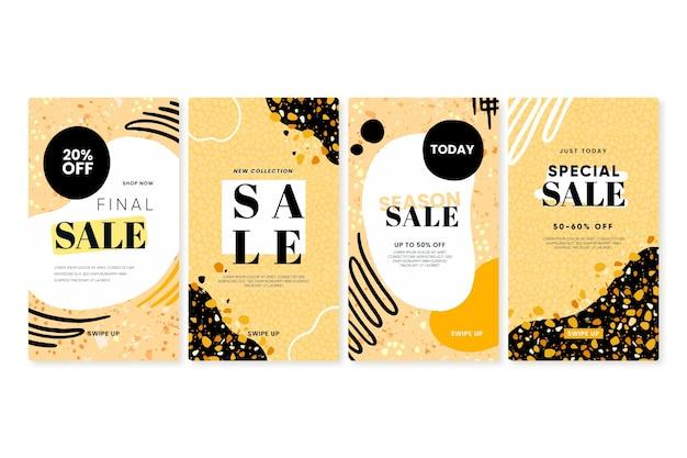 Colección de historias de instagram de venta dibujada a mano en terrazo