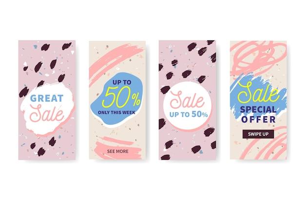 Colección de historias de instagram de venta dibujada a mano