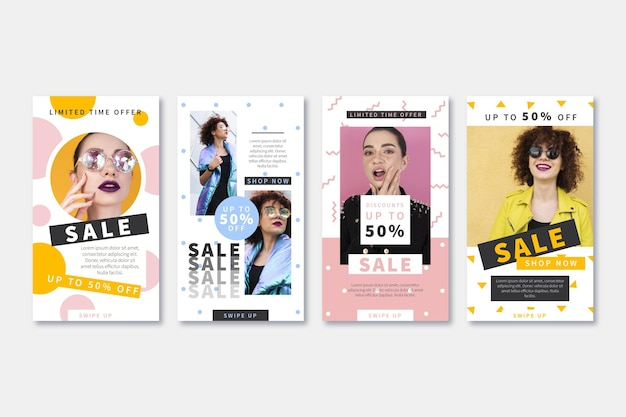 Colección de historias de instagram de venta de diseño plano con foto